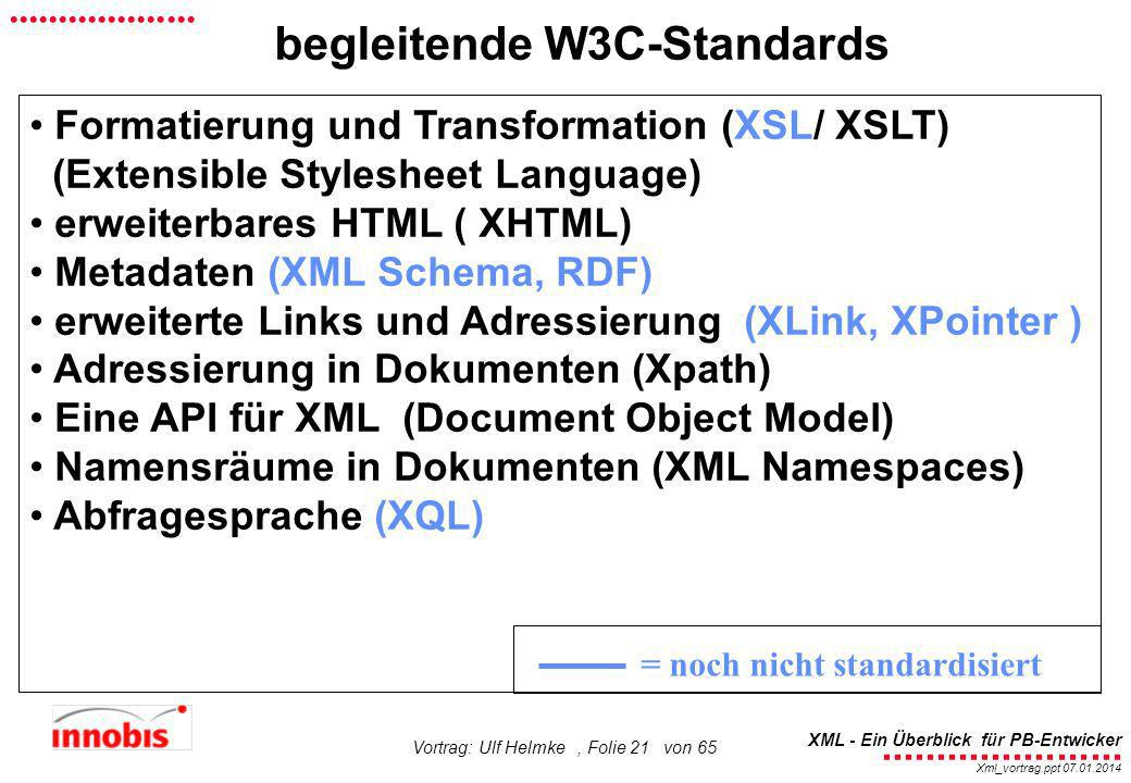 begleitende W3C-Standards