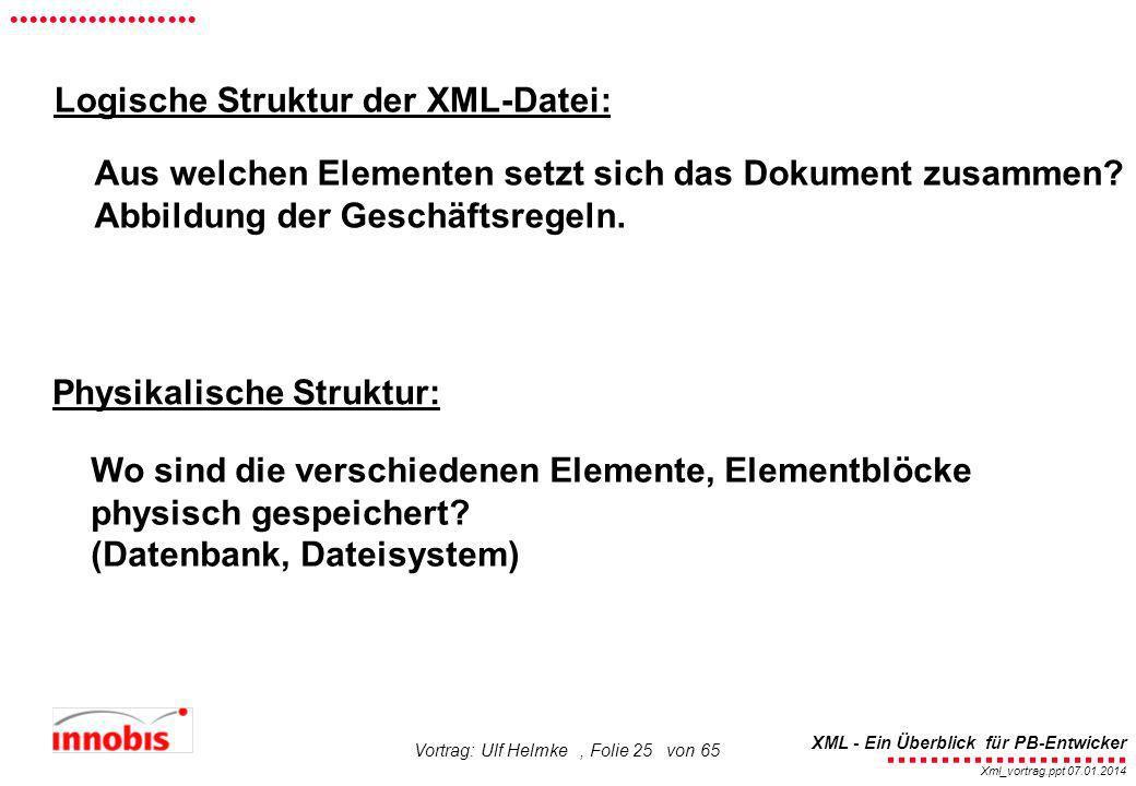 Logische Struktur der XML-Datei: