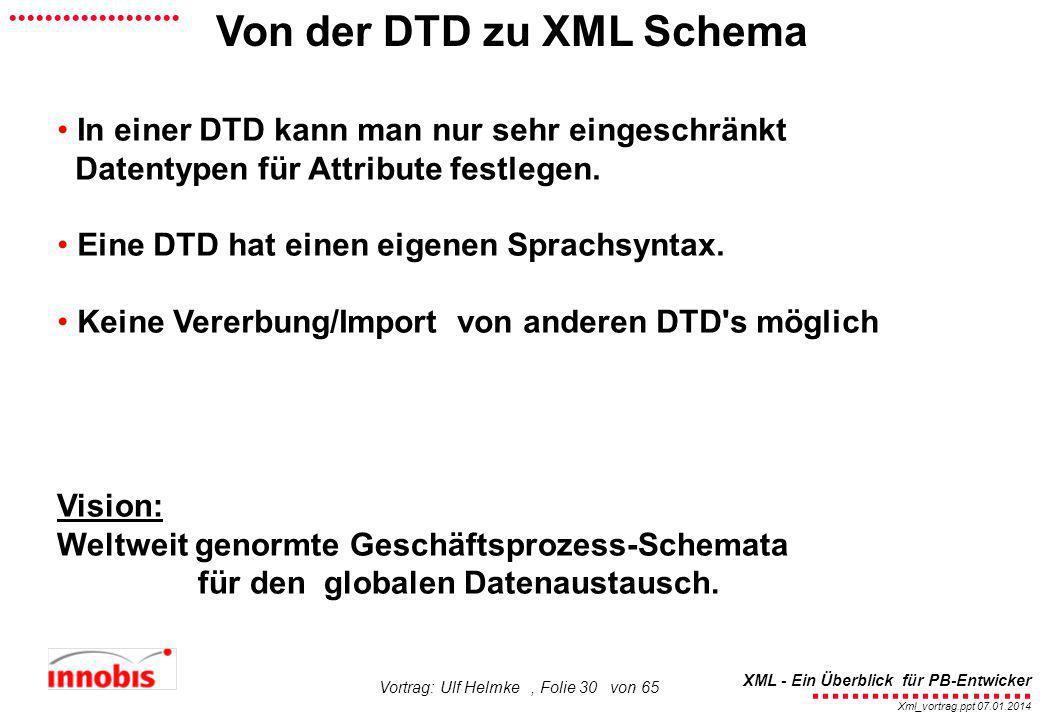 Von der DTD zu XML Schema