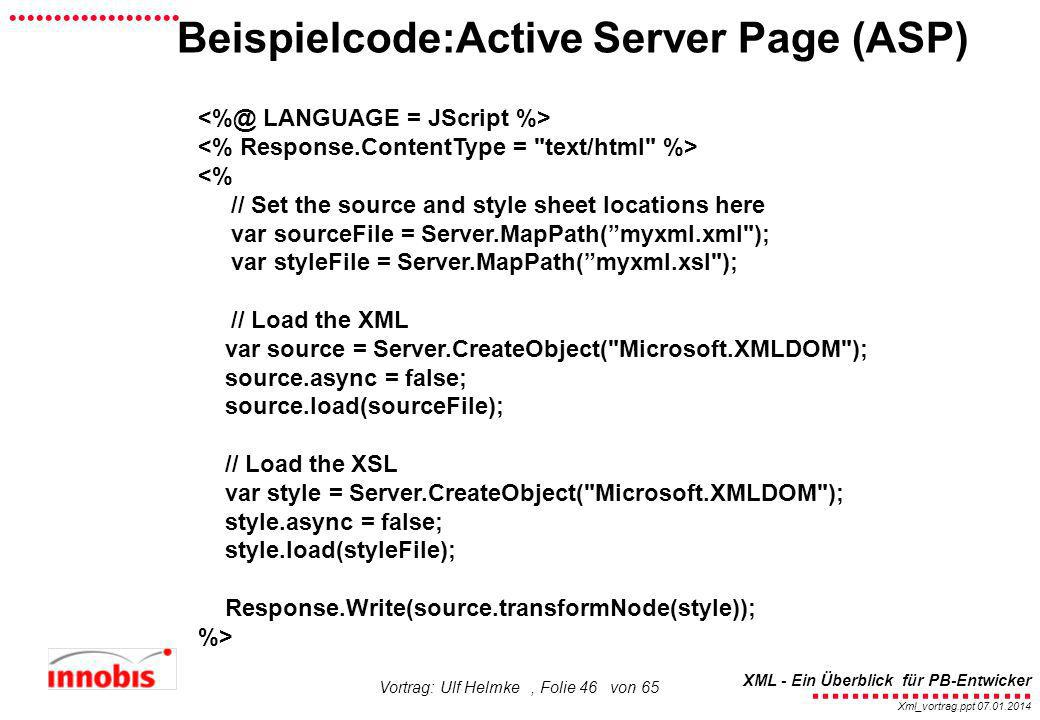 Beispielcode:Active Server Page (ASP)