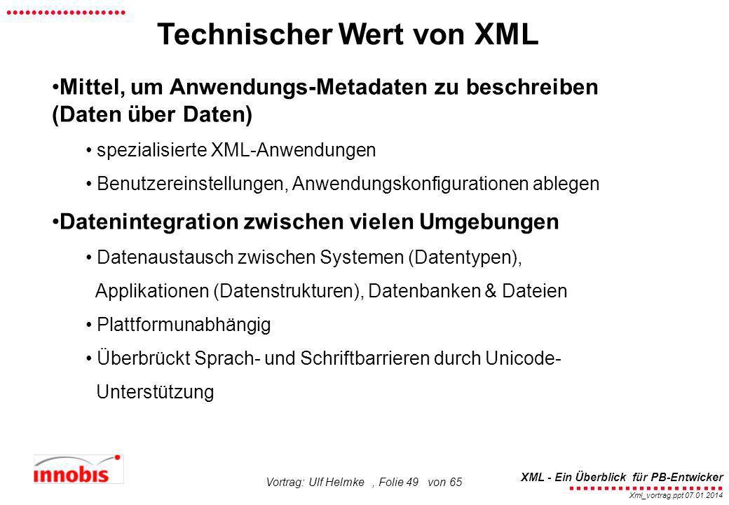 Technischer Wert von XML