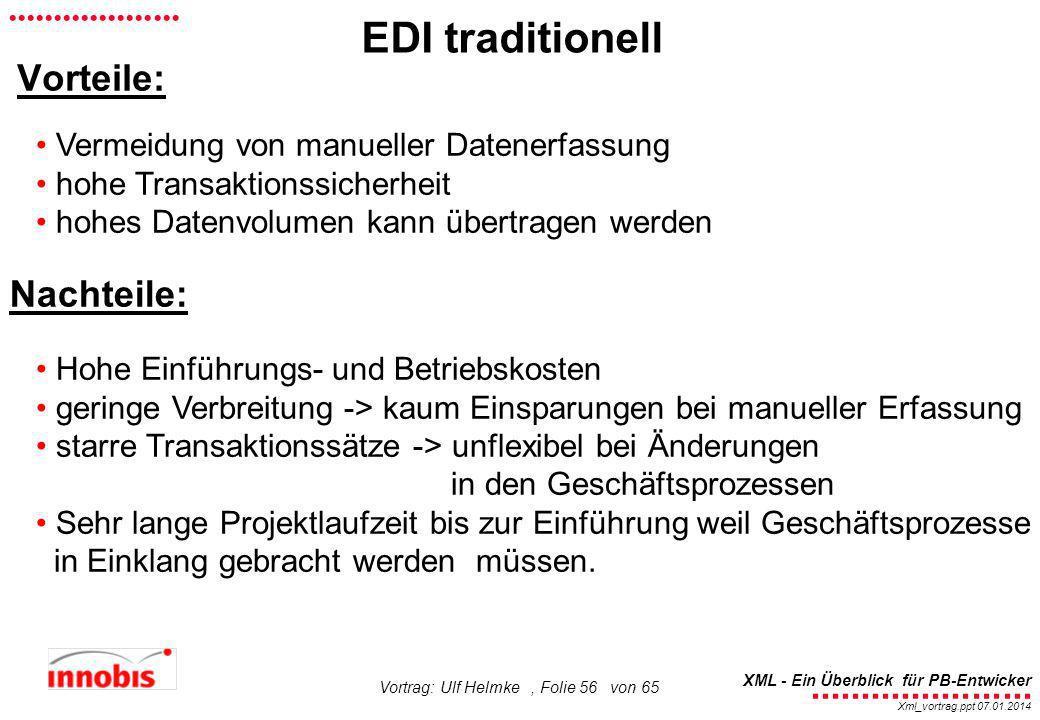 EDI traditionell Vorteile: Nachteile: