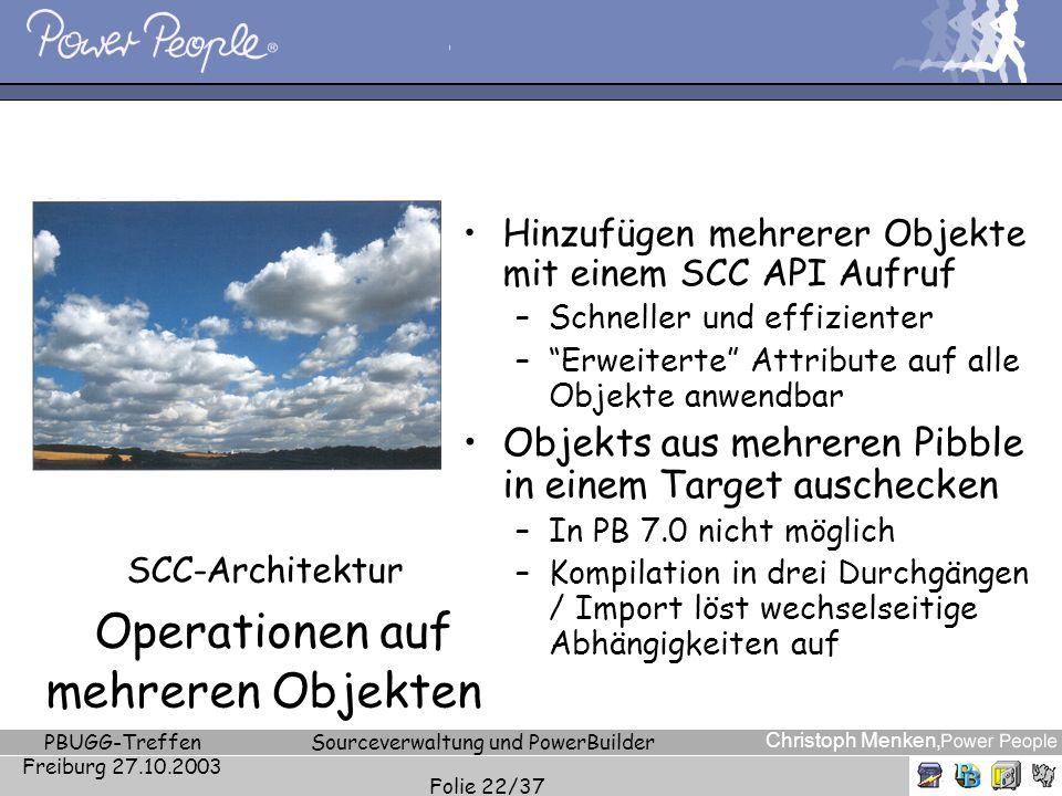 SCC-Architektur Operationen auf mehreren Objekten