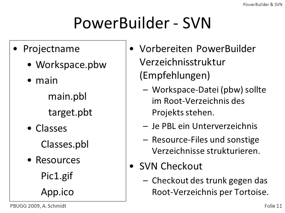PowerBuilder - SVN Projectname Workspace.pbw main main.pbl target.pbt