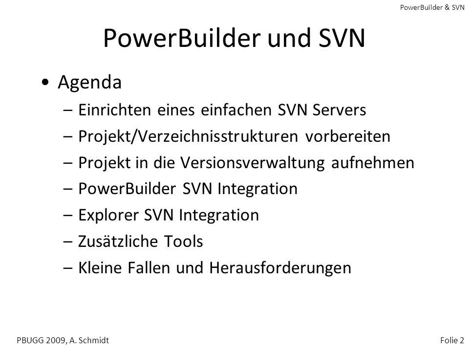 PowerBuilder und SVN Agenda Einrichten eines einfachen SVN Servers