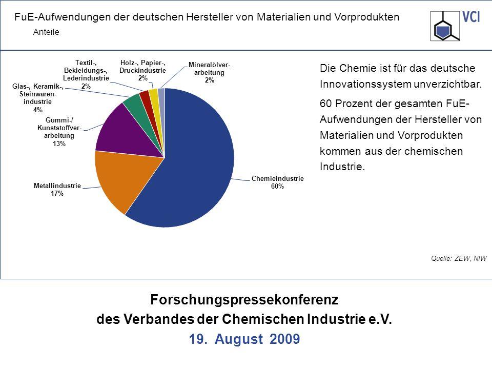 Die Chemie ist für das deutsche Innovationssystem unverzichtbar.