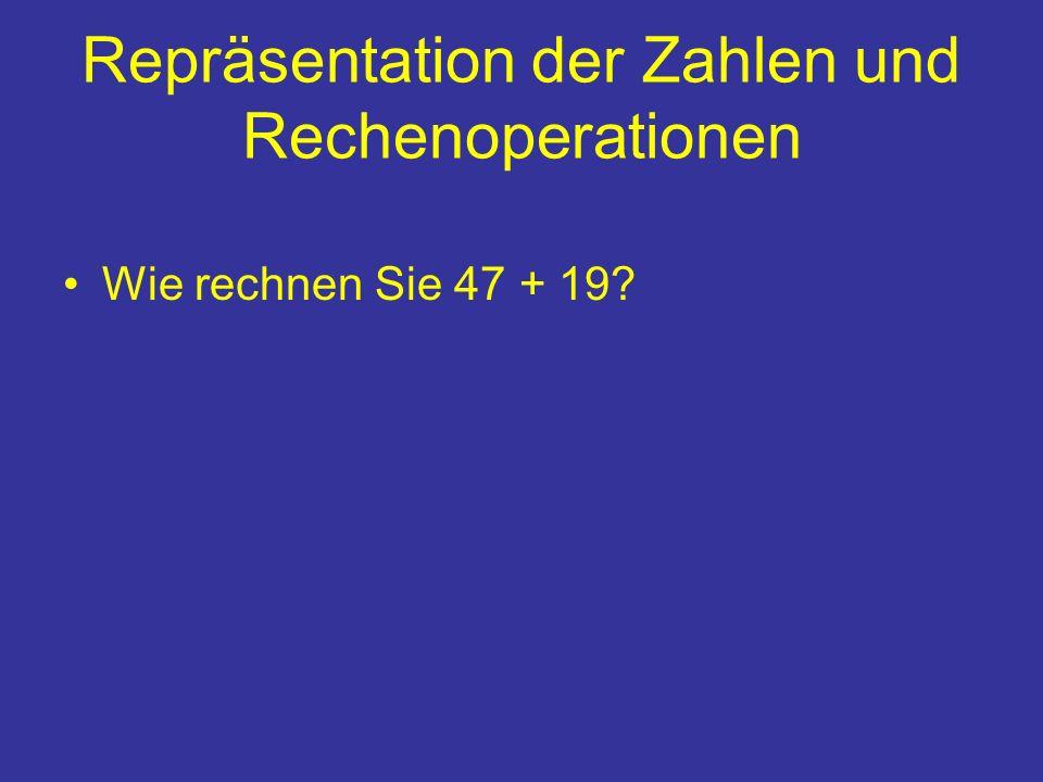 Repräsentation der Zahlen und Rechenoperationen