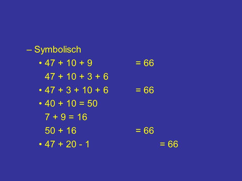 Symbolisch47 + 10 + 9 = 66. 47 + 10 + 3 + 6. 47 + 3 + 10 + 6 = 66. 40 + 10 = 50. 7 + 9 = 16. 50 + 16 = 66.