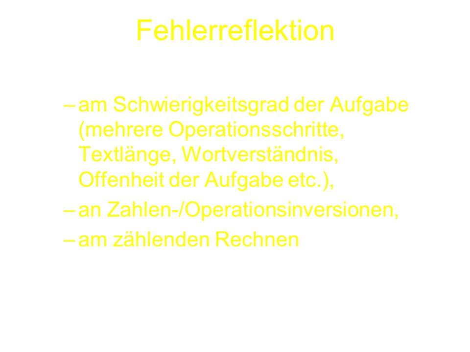 Fehlerreflektion am Schwierigkeitsgrad der Aufgabe (mehrere Operationsschritte, Textlänge, Wortverständnis, Offenheit der Aufgabe etc.),