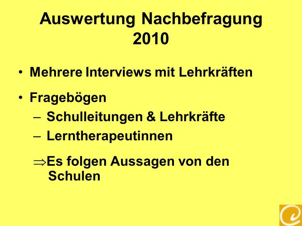 Auswertung Nachbefragung 2010