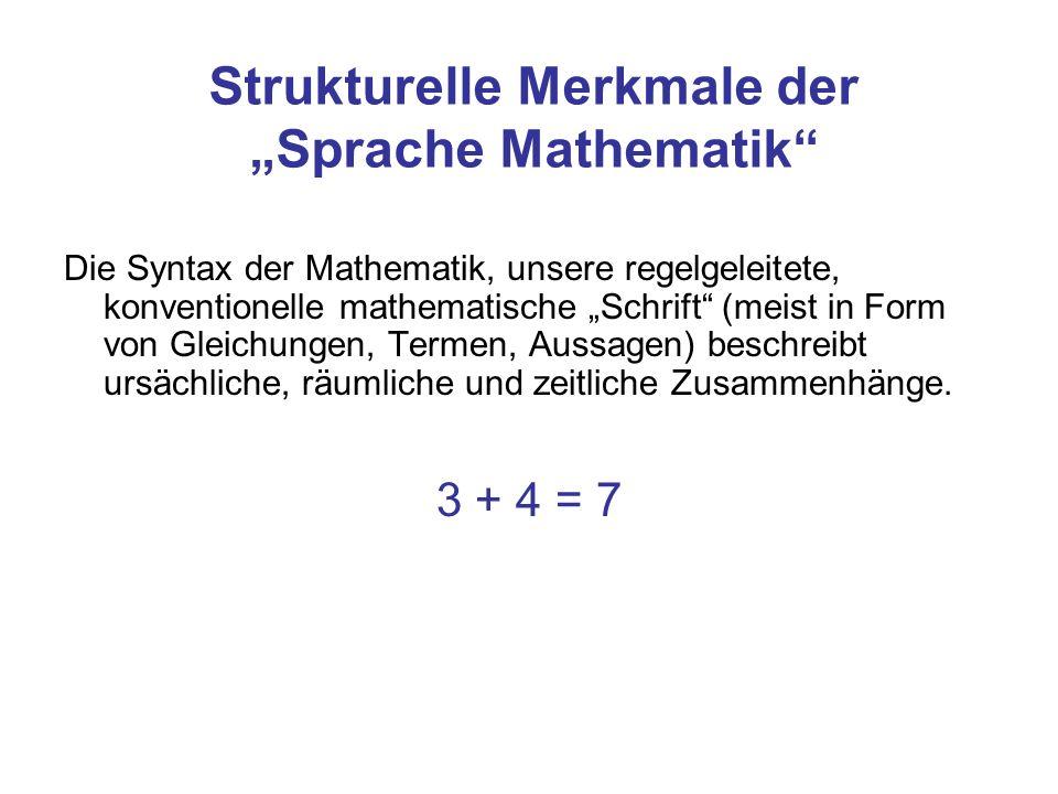 """Strukturelle Merkmale der """"Sprache Mathematik"""