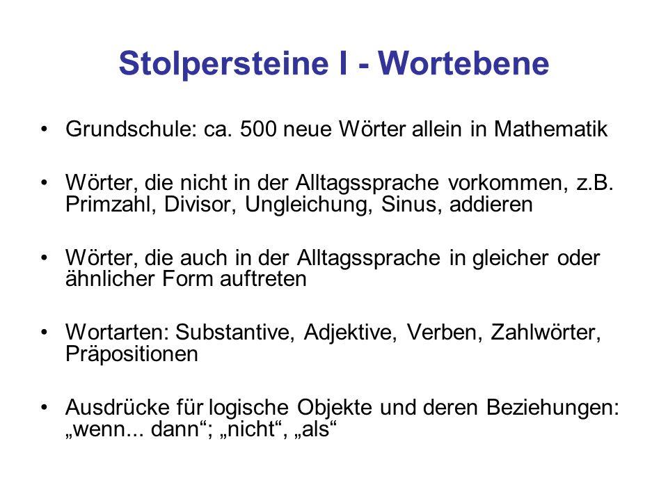 Stolpersteine I - Wortebene