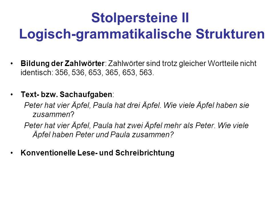 Stolpersteine II Logisch-grammatikalische Strukturen