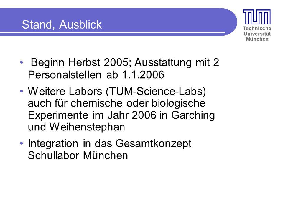 Stand, Ausblick Beginn Herbst 2005; Ausstattung mit 2 Personalstellen ab 1.1.2006.