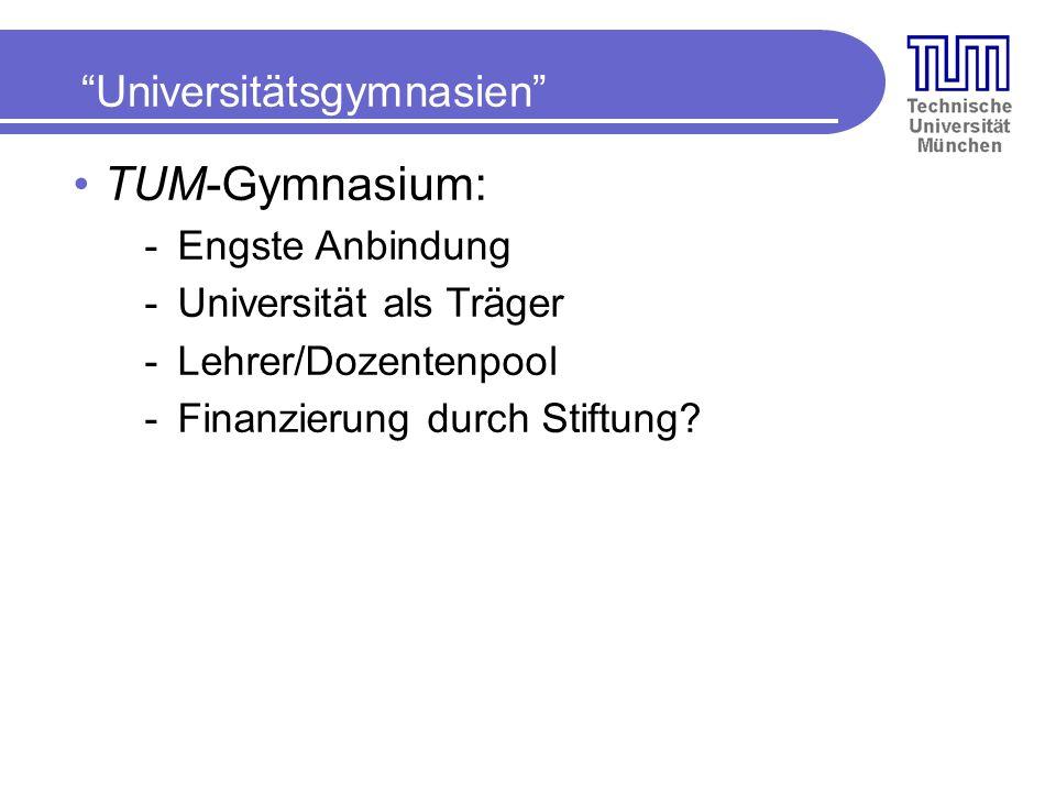 TUM-Gymnasium: Universitätsgymnasien Engste Anbindung