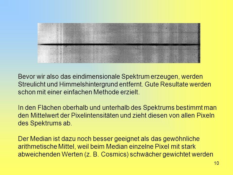 Bevor wir also das eindimensionale Spektrum erzeugen, werden Streulicht und Himmelshintergrund entfernt. Gute Resultate werden schon mit einer einfachen Methode erzielt.