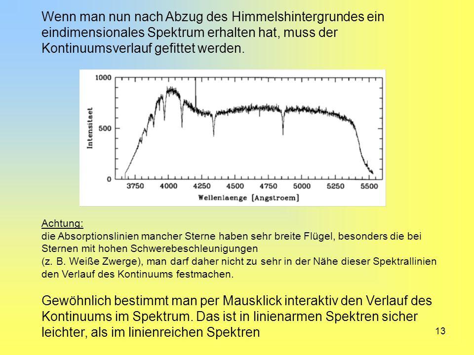 Wenn man nun nach Abzug des Himmelshintergrundes ein eindimensionales Spektrum erhalten hat, muss der Kontinuumsverlauf gefittet werden.