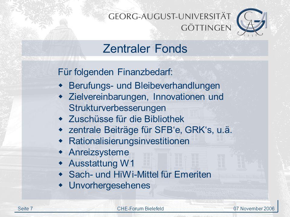 Zentraler Fonds Für folgenden Finanzbedarf: