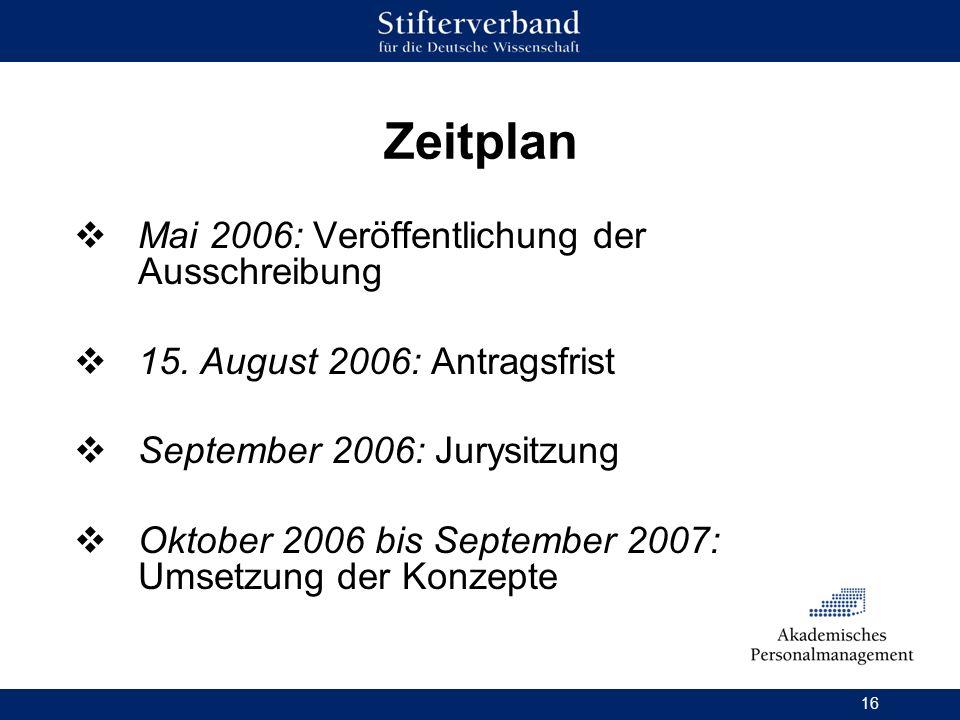 Zeitplan Mai 2006: Veröffentlichung der Ausschreibung