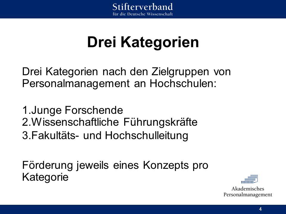 Drei Kategorien Drei Kategorien nach den Zielgruppen von Personalmanagement an Hochschulen: Junge Forschende.