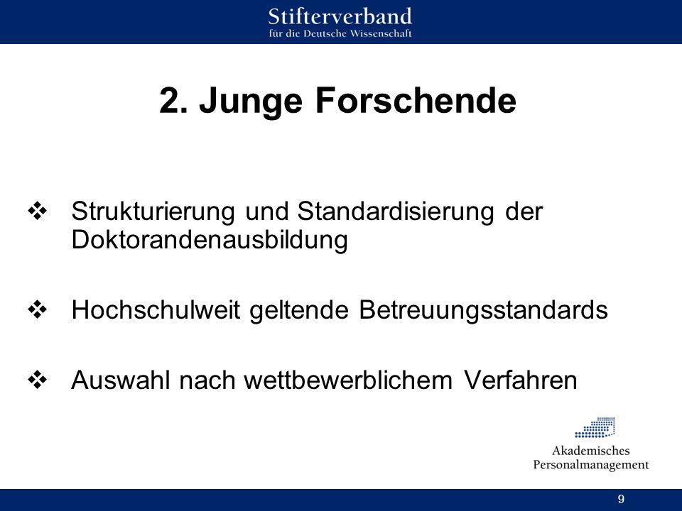 2. Junge Forschende Strukturierung und Standardisierung der Doktorandenausbildung. Hochschulweit geltende Betreuungsstandards.