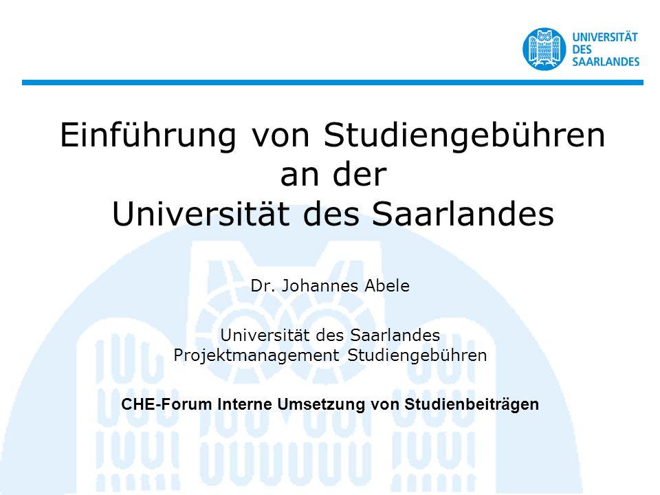 Einführung von Studiengebühren an der Universität des Saarlandes