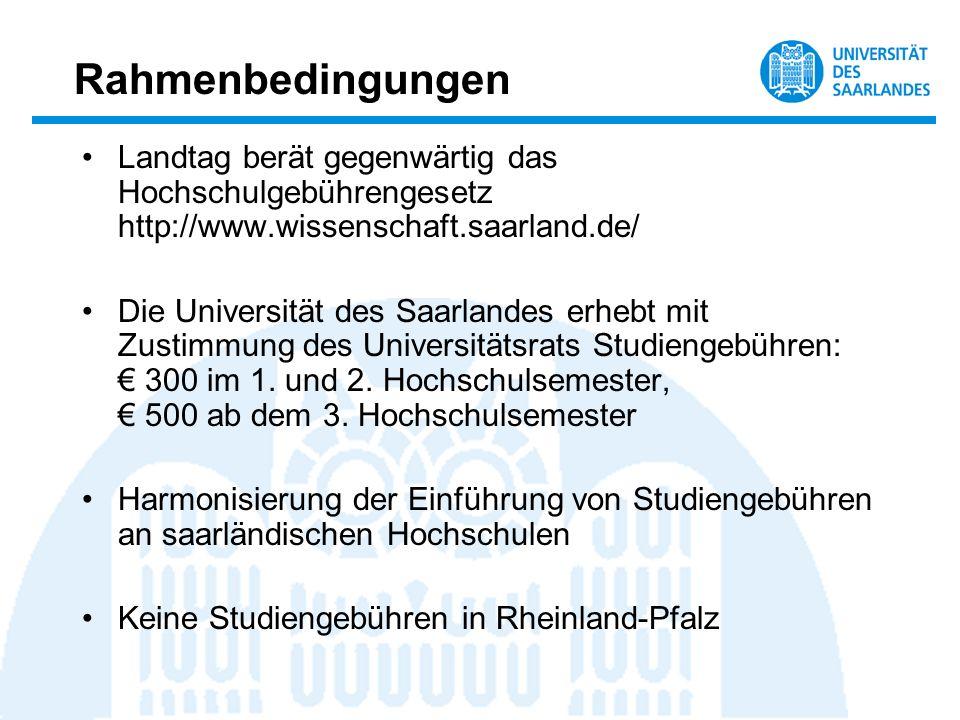 Rahmenbedingungen Landtag berät gegenwärtig das Hochschulgebührengesetz http://www.wissenschaft.saarland.de/