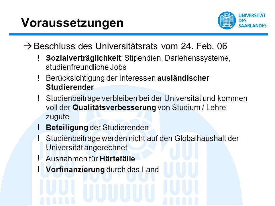 Voraussetzungen Beschluss des Universitätsrats vom 24. Feb. 06