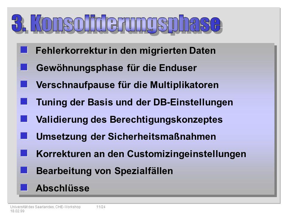 3. Konsoliderungsphase Fehlerkorrektur in den migrierten Daten