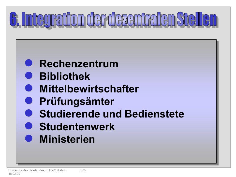 6. Integration der dezentralen Stellen