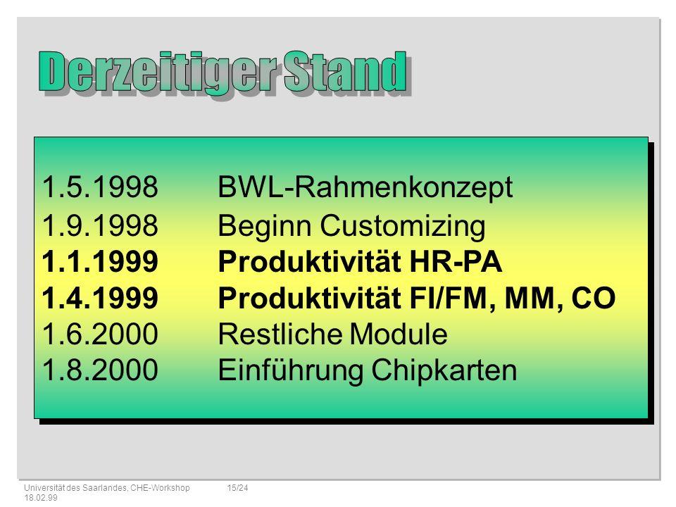 Derzeitiger Stand 1.5.1998 BWL-Rahmenkonzept