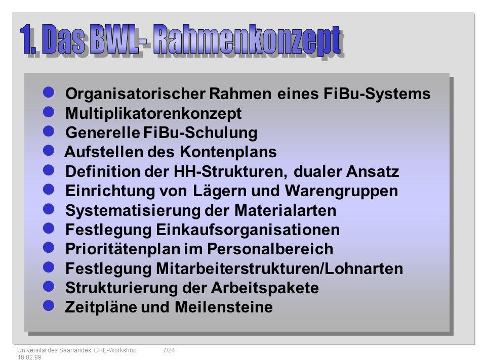 1. Das BWL- Rahmenkonzept