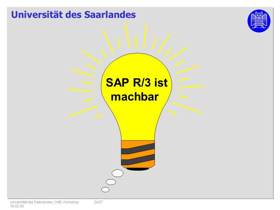 SAP R/3 ist machbar Universität des Saarlandes, CHE-Workshop 18.02.99 22