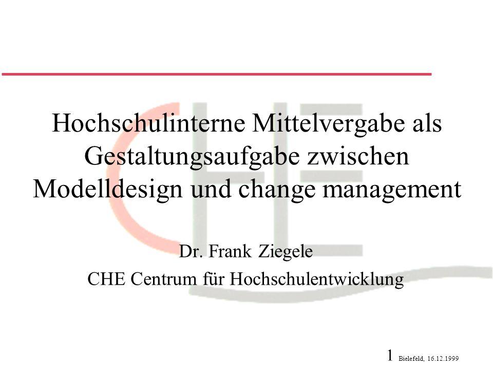 Dr. Frank Ziegele CHE Centrum für Hochschulentwicklung