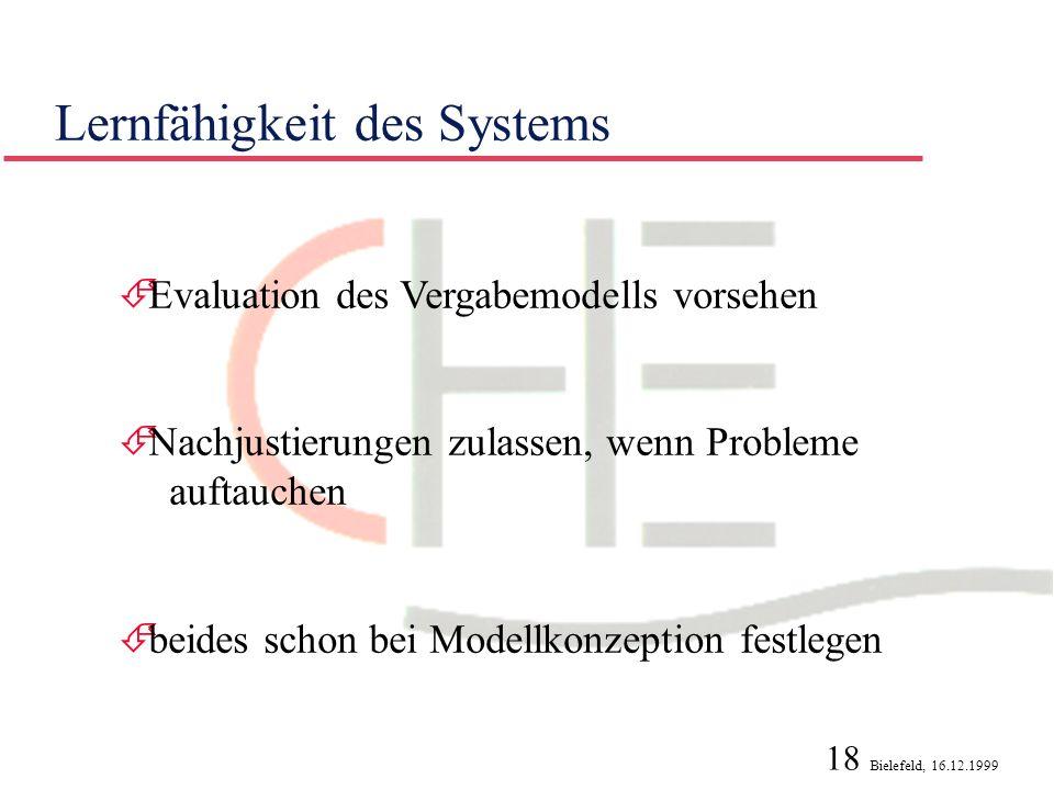 Lernfähigkeit des Systems