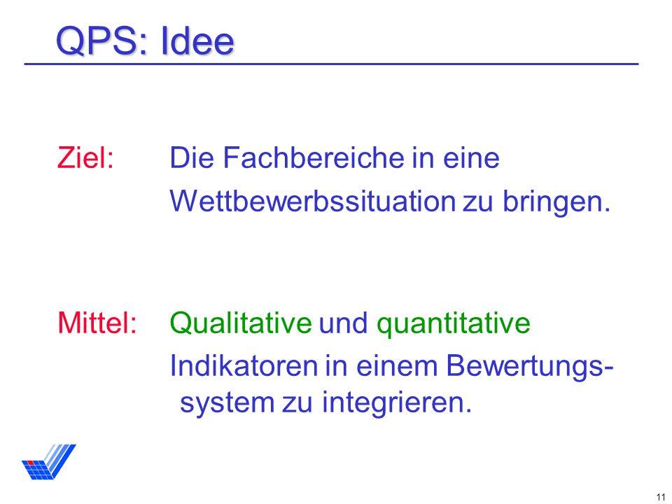 QPS: Idee Ziel: Die Fachbereiche in eine