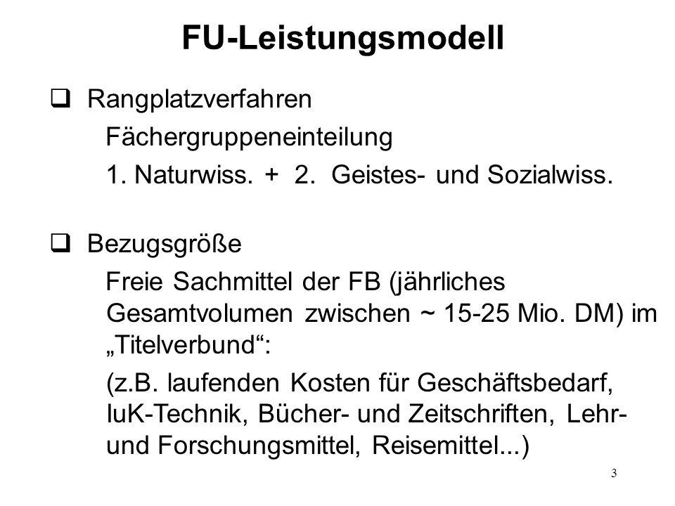 FU-Leistungsmodell Rangplatzverfahren Fächergruppeneinteilung