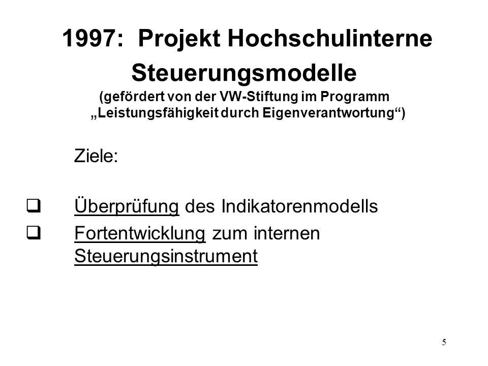 """1997: Projekt Hochschulinterne Steuerungsmodelle (gefördert von der VW-Stiftung im Programm """"Leistungsfähigkeit durch Eigenverantwortung )"""