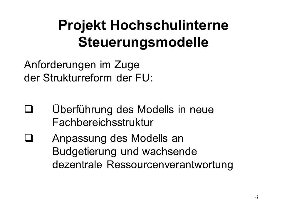Projekt Hochschulinterne Steuerungsmodelle