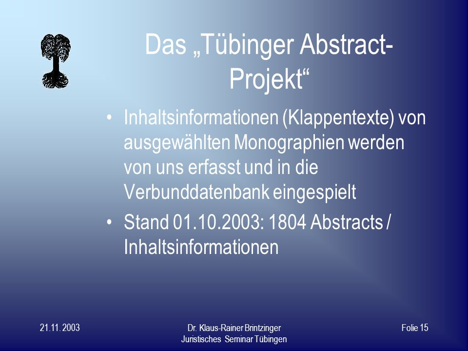"Das ""Tübinger Abstract-Projekt"