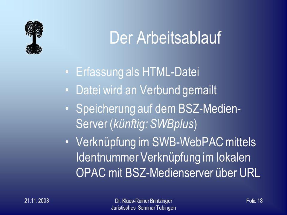 Der Arbeitsablauf Erfassung als HTML-Datei