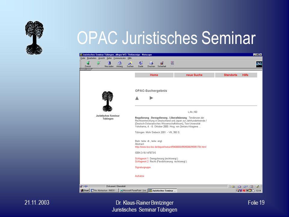 OPAC Juristisches Seminar