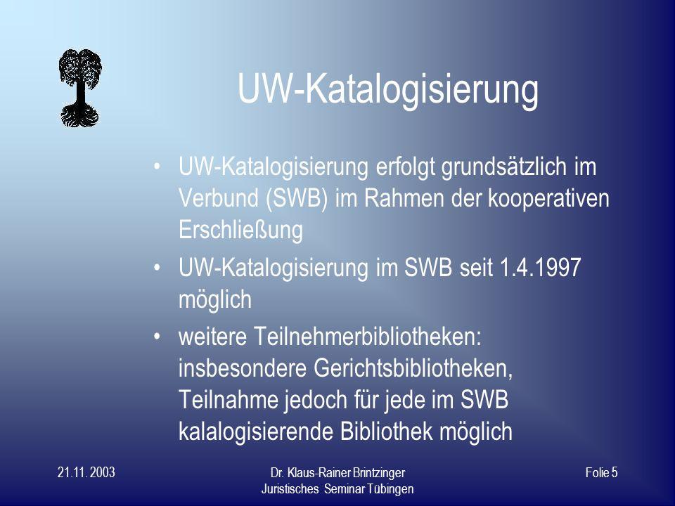 UW-Katalogisierung UW-Katalogisierung erfolgt grundsätzlich im Verbund (SWB) im Rahmen der kooperativen Erschließung.