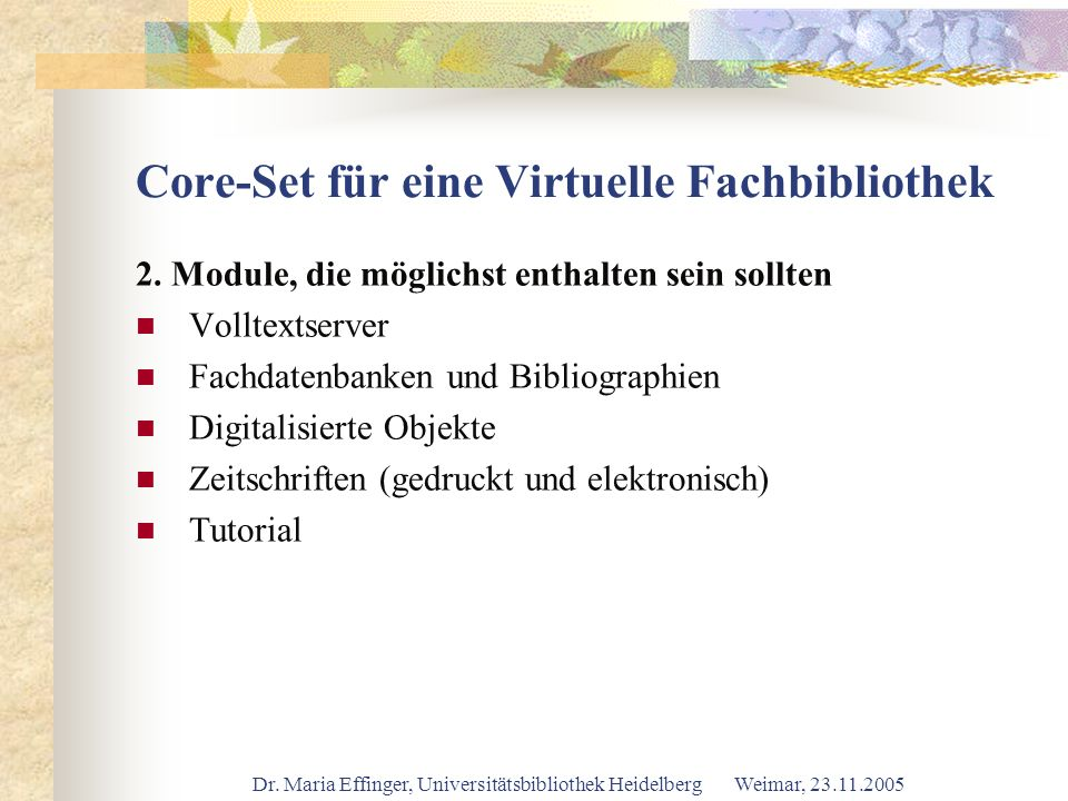 Core-Set für eine Virtuelle Fachbibliothek