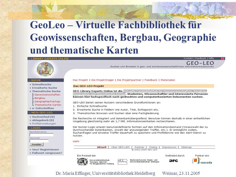 GeoLeo – Virtuelle Fachbibliothek für Geowissenschaften, Bergbau, Geographie und thematische Karten