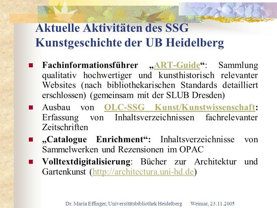 Aktuelle Aktivitäten des SSG Kunstgeschichte der UB Heidelberg