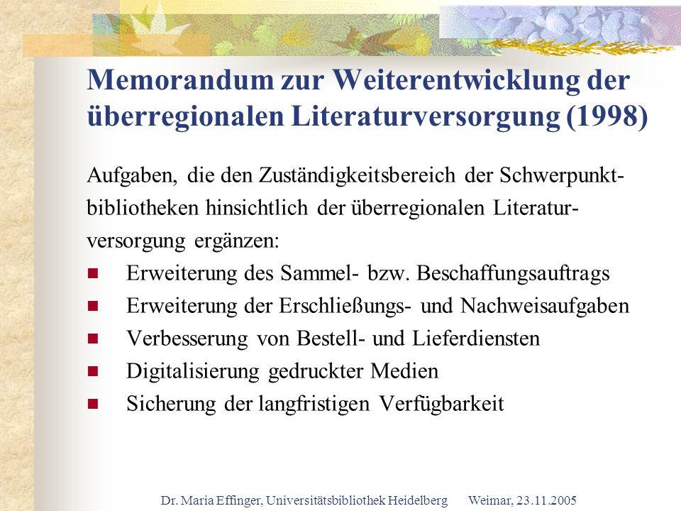 Memorandum zur Weiterentwicklung der überregionalen Literaturversorgung (1998)