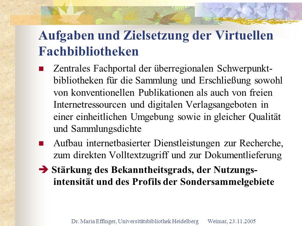 Aufgaben und Zielsetzung der Virtuellen Fachbibliotheken