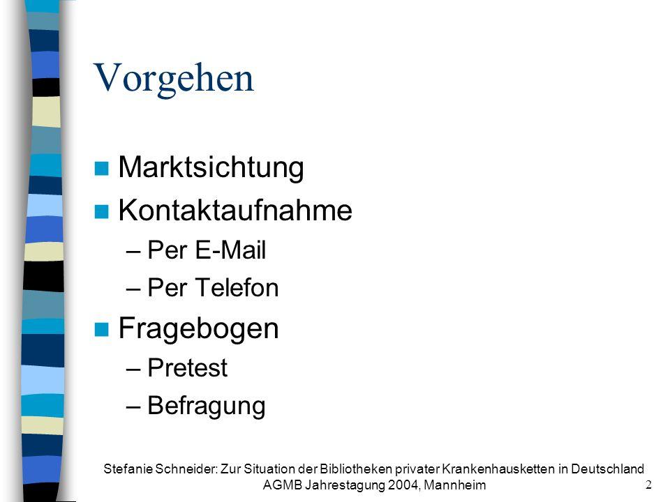Vorgehen Marktsichtung Kontaktaufnahme Fragebogen Per E-Mail
