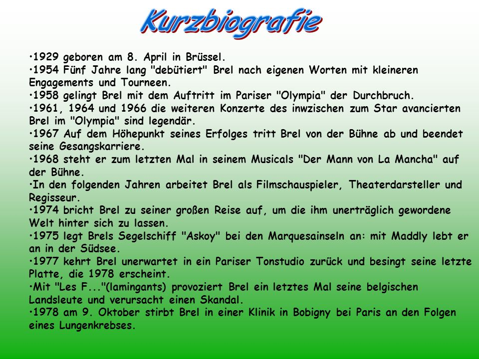 Kurzbiografie 1929 geboren am 8. April in Brüssel.